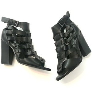 G by Guess Black Cages Ankle Bootie Heel Peep toe